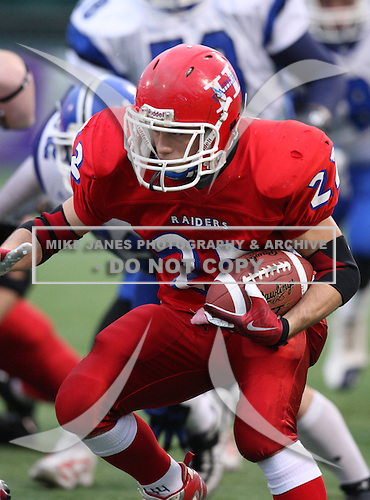 Hornell Red Raiders varsity football against the Westhill Warriors in the Class-B NYSPHSAA Semifinals at Marina Auto Stadium on November 21, 2009 in Rochester, New York.  Hornell defeated Westhill 49-7.  (Copyright Mike Janes Photography)
