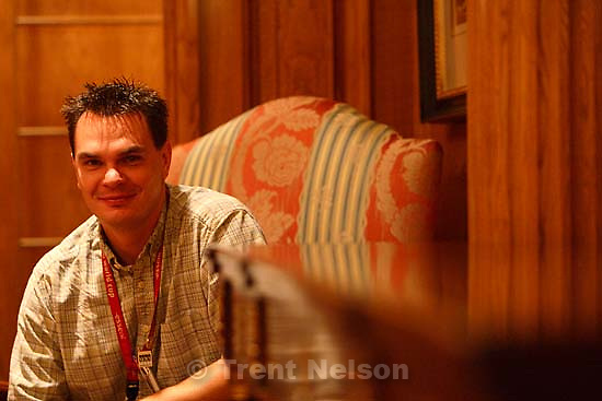 Deseret News photographer Scott Winterton, waiting to photograph Secretary of State Condoleezza Rice at Salt Lake City's Grand America Hotel Tuesday morning.; 8.29.2006<br />