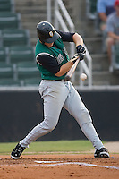 Garrett Baker (19) of the Augusta GreenJackets breaks his bat on an inside pitch at Fieldcrest Cannon Stadium in Kannapolis, NC, Wednesday August 21, 2008. (Photo by Brian Westerholt / Four Seam Images)