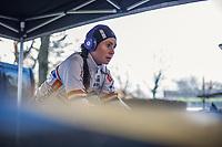 Nikki Brammeier (GBR/Boels Dolmans)  pre race  warming up.<br /> <br /> women's elite race<br /> Flandriencross Hamme / Belgium 2017