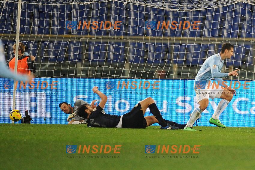 Esultanza dopo il gol di Miroslav klose Lazio. Goal celebration.<br /> Roma 06-01-2014 Stadio Olimpico. Football Calcio 2013/2014 Serie A. Lazio - Inter. Foto Antonietta Baldassarre / Insidefoto