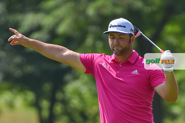 Jon Rahm (ESP) watches his tee shot on 3 during 2nd round of the World Golf Championships - Bridgestone Invitational, at the Firestone Country Club, Akron, Ohio. 8/3/2018.<br /> Picture: Golffile | Ken Murray<br /> <br /> <br /> All photo usage must carry mandatory copyright credit (© Golffile | Ken Murray)