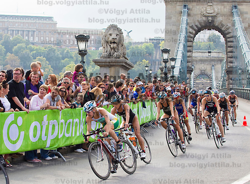 Silver medal winning world champion Emma Moffat (center AUS) rides her bike among other competitors during the ITU women's elite triathlon world championships series final in Budapest, Hungary, Sunday, 12. September 2010. ATTILA VOLGYI