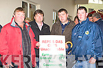 TAKING PART: East Kerry farmers Mike Fitzgerald (Rathmore), PJ O'Sullivan, Jerry Murphy and Mike Herlihy (Gneeveguilla) taking part in the IFA protest outside Jackie Healy-Rae's clinic in Scotts Hotel, Killarney on Saturday.