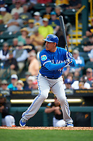 Toronto Blue Jays right fielder Ezequiel Carrera (3) at bat during a Spring Training game against the Pittsburgh Pirates on March 3, 2016 at McKechnie Field in Bradenton, Florida.  Toronto defeated Pittsburgh 10-8.  (Mike Janes/Four Seam Images)