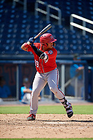 Washington Nationals Onix Vega (19) at bat during an Instructional League game against the Miami Marlins on September 26, 2019 at FITTEAM Ballpark of The Palm Beaches in Palm Beach, Florida.  (Mike Janes/Four Seam Images)