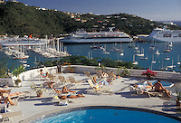 AJ2353, U.S. Virgin Islands, St. Thomas, Caribbean, USVI, U.S.V.I., cruise, pool, Virgin Islands, Scenic view of cruise ships in the harbor from the deck of a swimming pool at Bluebeard's Castle in Charlotte Amalie the territorial capital of the US Virgin Islands on Saint Thomas Island.