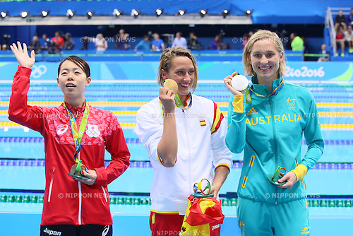 (L-R) Natusmi Hoshi (JPN), Mireia Belmonte Garcia (ESP), Madeline Groves (AUS), <br /> AUGUST 10, 2016 - Swimming : <br /> Women's 200m Butterfly Medal Ceremony  <br /> at Olympic Aquatics Stadium <br /> during the Rio 2016 Olympic Games in Rio de Janeiro, Brazil. <br /> (Photo by Yohei Osada/AFLO SPORT)