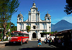 The town of Izalco with its colonial church and the Izalco Volcano.