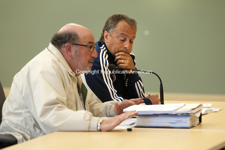 TORRINGTON, CT - 19 MAY 2014 -- Ed Arum, left, and Mario Longobucco, members of the Torrington Turf Committee, address the City Council on Monday.  Alec Johnson/ Republican-American