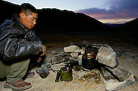At 5000 meters in the Marco Polo region, the lack of oxygen force the use of a blowpipe to warm the tea..The M41 Highway from the Ismaili capital of Khorog to the south capital of Kyrgyzstan - Osh, via the head district of Badakhshan - Murgab and the Akbajtal Pass at 4655 meters.