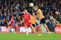 Goal scorer James Berrett watchs on as a header is cleared during the Sky Bet League 2 match between Cambridge United and Grimsby Town at the R Costings Abbey Stadium, Cambridge, England on 15 October 2016. Photo by PRiME Media Images.