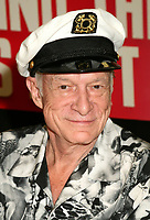 "27 September 2017 - Hugh Marston Hefner aka ""Hef"" was an American magazine publisher, editor, businessman, and international playboy best known as the editor-in-chief and publisher of Playboy magazine, which he founded in 1953. Hefner was the founder and chief creative officer of Playboy Enterprises, the publishing group that operates the magazine. Hefner was also a political activist and philanthropist. File Photo: 3 August 2006 - West Hollywood, California. Hugh Hefner. ""The Girls Next Door"" DVD and Magazine Signing at Tower Records. Photo Credit: Byron Purvis/AdMedia"