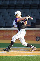 Brady Williamson (3) of the High Point Panthers follows through on his swing against the Wake Forest Demon Deacons at Wake Forest Baseball Park on April 2, 2014 in Winston-Salem, North Carolina.  The Demon Deacons defeated the Panthers 10-6.  (Brian Westerholt/Four Seam Images)