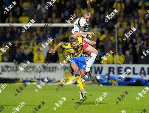 2012-11-09 / Voetbal / seizoen 2012-2013 / Westerlo - R. Antwerp FC / Philippe Janssens met Nicky Hayen (Antwerp) boven zich..Foto: Mpics.be