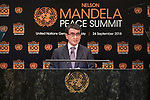 Opening Plenary Meeting of the Nelson Mandela Peace Summit<br /> <br /> His Excellency Taro KONO Minister for Foreign Affairs of Japan