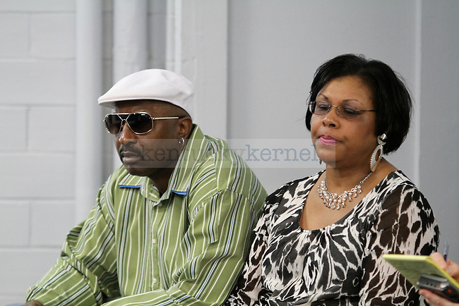 The parents of Patrick Patterson watch as their son announces that he will be entering the NBA draft after three years at UK in Memorial Coliseum Friday April 23, 2010. Photo by Latara Appleby | Staff