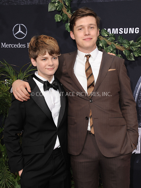 WWW.ACEPIXS.COM<br /> <br /> June 9 2015, LA<br /> <br /> Ty Simpkins and Nick Robinson arriving at the world premiere of 'Jurassic World' at the Dolby Theatre on June 9, 2015 in Hollywood, California. <br /> <br /> <br /> By Line: Peter West/ACE Pictures<br /> <br /> <br /> ACE Pictures, Inc.<br /> tel: 646 769 0430<br /> Email: info@acepixs.com<br /> www.acepixs.com