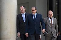 Paris (75),Le President de la Republique, Franeois HOLLANDE, recoit samedi 25 juin 2016 les representants des partis politiques francais au Palais de l Elysee. Parti Socialiste Jean-Christophe CAMBADELIS,e Didier GUILLAUME, Bruno LE ROUX
