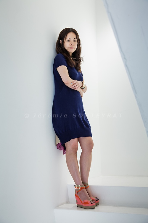 Tokyo, June 28 2012 - Portrait of the Japanese fashion designer Sacai (Chitose Abe) at Sacai's showroom near Omotesando.