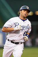 Royals catcher Jason LaRue rounds the bases with a home run in the fourth inning at Kauffman Stadium in Kansas City, Missouri on May 5, 2007.