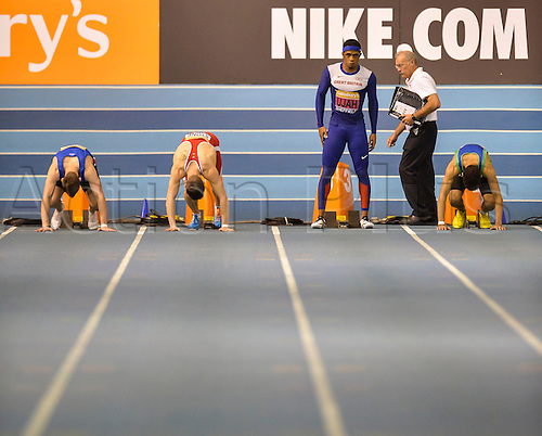 14.02.2015.  Sheffield, England. British Indoor Athletics Championship. Chijindu Ujah (Enfield H) prepares for his 60m heat.