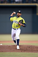 Pitcher Simeon Woods-Richardson (21) of the Columbia Fireflies delivers a pitch in a game against the Charleston RiverDogs on Thursday, April 4, 2019, at Segra Park in Columbia, South Carolina. Charleston won, 2-1. (Tom Priddy/Four Seam Images)