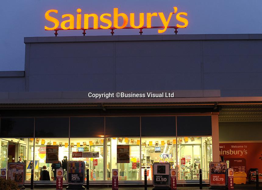 Sainsbury's supermarket in Cardiff, UK. J Sainsbury, Britain's No. 3 supermarket.   22-Sept-2013.