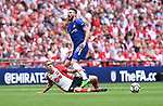 Olivier Giroud of Chelsea is challenged by Oriol Romeu of Southampton  during the FA cup semi-final match at Wembley Stadium, London. Picture date 22nd April, 2018. Picture credit should read: Robin Parker/Sportimage