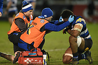 Levi Douglas of Bath United is treated for an injury. Aviva A-League match, between Bath United and Harlequins A on March 26, 2018 at the Recreation Ground in Bath, England. Photo by: Patrick Khachfe / Onside Images
