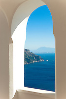 View of Amalfi Coast from the terrace of Villa Rondinaia, Ravello, Italy