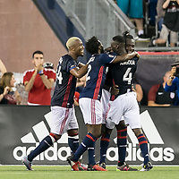 Foxborough, Massachusetts - September 23, 2017: In a Major League Soccer (MLS) match, New England Revolution (blue/white) defeated Toronto FC (red), 2-1, at Gillette Stadium.<br /> Goal celebration.