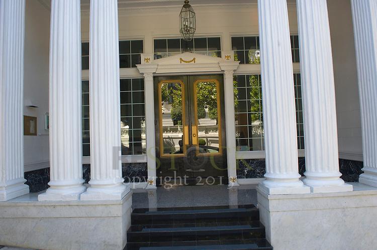 Glass Door with White Pillars