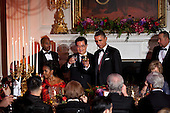 United States President Barack Obama and President Hu Jintao of China toast during the State Dinner in the State Dining Room of the White House, Wednesday, January 19, 2011. .Mandatory Credit: Lawrence Jackson - White House via CNP