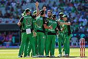 10th February 2019, Melbourne Cricket Ground, Melbourne, Australia; Australian Big Bash Cricket, Melbourne Stars versus Sydney Sixers; Melbourne Stars players celebrate the wicket of  Moises Henriques of the Sydney Sixers