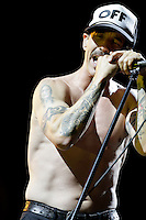 The Red Hot Chili Peppers perform at the 2012 Bonnaroo Music Festival in Manchester, Tennessee. June 9, 2012. Credit: Jen Maler / MediaPunch Inc. NORTEPHOTO.COM<br />