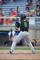 Dayton Dragons first baseman Leandro Santana (8) at bat during a game against the Beloit Snappers on July 22, 2018 at Pohlman Field in Beloit, Wisconsin.  Dayton defeated Beloit 2-1.  (Mike Janes/Four Seam Images)