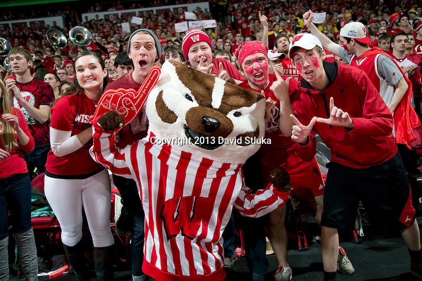 Wisconsin Badger fans pose with mascot Bucky Badger during a Big Ten Conference NCAA college basketball game against the Michigan Wolverines Saturday, February 9, 2013, in Madison, Wis. The Badgers won 65-62 (OT). (Photo by David Stluka)