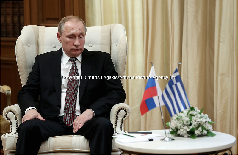 Pictured: Vladimir Putin Friday 27 May 2016<br /> Re: Russian President Vladimir Putin meets with Greek Prime Minister Alexis Tsipras at Maximou Mansion, Athens, Greece