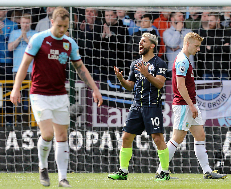 Manchester City's Sergio Aguero reacts after an opportunity goes begging early in the second half<br /> <br /> Photographer Rich Linley/CameraSport<br /> <br /> The Premier League - Burnley v Manchester City - Sunday 28th April 2019 - Turf Moor - Burnley<br /> <br /> World Copyright © 2019 CameraSport. All rights reserved. 43 Linden Ave. Countesthorpe. Leicester. England. LE8 5PG - Tel: +44 (0) 116 277 4147 - admin@camerasport.com - www.camerasport.com