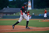 Richmond Flying Squirrels Johneshwy Fargas (8) rounds the bases after hitting a home runduring an Eastern League game against the Bowie Baysox on August 15, 2019 at Prince George's Stadium in Bowie, Maryland.  Bowie defeated Richmond 4-3.  (Mike Janes/Four Seam Images)