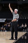 Referee Bruce Morris works the ACC women's basketball game between the Georgia Tech Yellow Jackets and the Wake Forest Demon Deacons at the LJVM Coliseum on January 22, 2017 in Winston-Salem, North Carolina.  The Demon Deacons defeated the Yellow Jackets 70-65 in overtime.  (Brian Westerholt/Sports On Film)