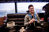 post-race scenes on the Mitchelton-Scott bus; Jack Bauer (NZL/Mitchelton-Scott) was involved in a crash early on (over the cobbled sections > and didn't finish the race) and is in serious pain <br /> <br /> 117th Paris-Roubaix 2019 (1.UWT)<br /> One day race from Compiègne to Roubaix (FRA/257km)<br /> <br /> ©kramon