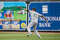Dayton Dragons outfielder Jose Siri (15) makes a throw from the outfield against the West Michigan Whitecaps on April 24, 2016 at Fifth Third Ballpark in Comstock, Michigan. Dayton defeated West Michigan 4-3. (Andrew Woolley/Four Seam Images)