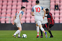 Ben Woodburn of Liverpool left looks for a pass under pressure from Nnamdi Ofoborh of AFC Bournemouth during AFC Bournemouth Under-21 vs Liverpool Under-21, Premier League Cup Football at the Vitality Stadium on 24th February 2019