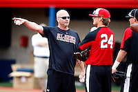 August 7, 2009:  Billy Ripken instructs Stetson Allie and others while at the Under Armour All-America practice at Les Miller Field in Chicago, IL.  Photo By Mike Janes/Four Seam Images