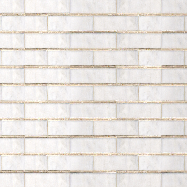 Bead Brick, a hand-cut stone mosaic, shown in polished Calacatta and Botticino.