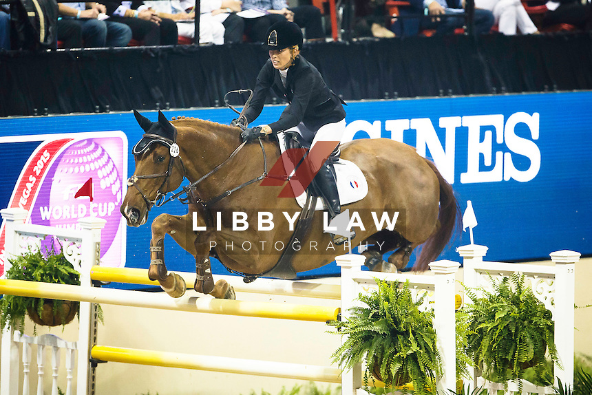 NZL-Katie Laurie (KIWI IRON MARK) TABLE A 1.50-1.60m: LONGINES FEI World Cup Jumping Final 2: 2015 FEI World Cup Finals at the Thomas and Mack Centre, Las Vegas, Nevada, USA (Friday 17 April) CREDIT: Libby Law COPYRIGHT: LIBBY LAW PHOTOGRAPHY