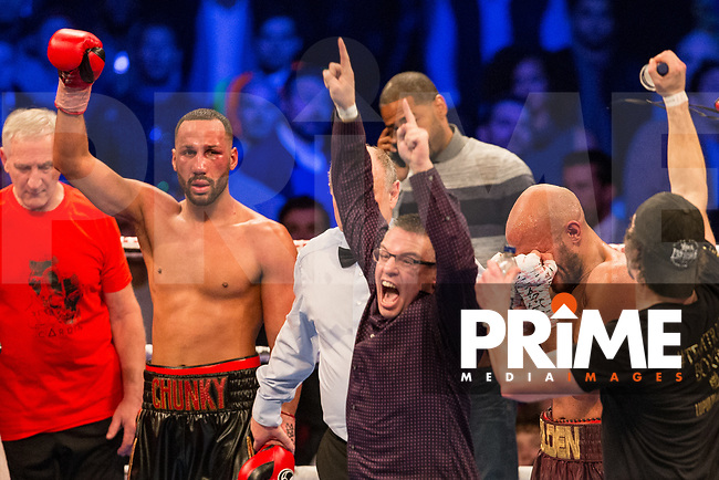 Reactions after Caleb Truax (right) is crowned the new Champions after a points decision - THE IBF WORLD SUPER-MIDDLEWEIGHT CHAMPIONSHIP 12 X 3 Minute Rounds JAMES DeGALE MBE 12st V CALEB TRUAX 11st 13lbs during the Boys are back in town - Frank Warren Boxing event at the Copper Box Arena, London, England on 9 December 2017. Photo by Andy Rowland.