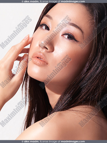 Sensual beauty portrait of a young asian woman beautiful face